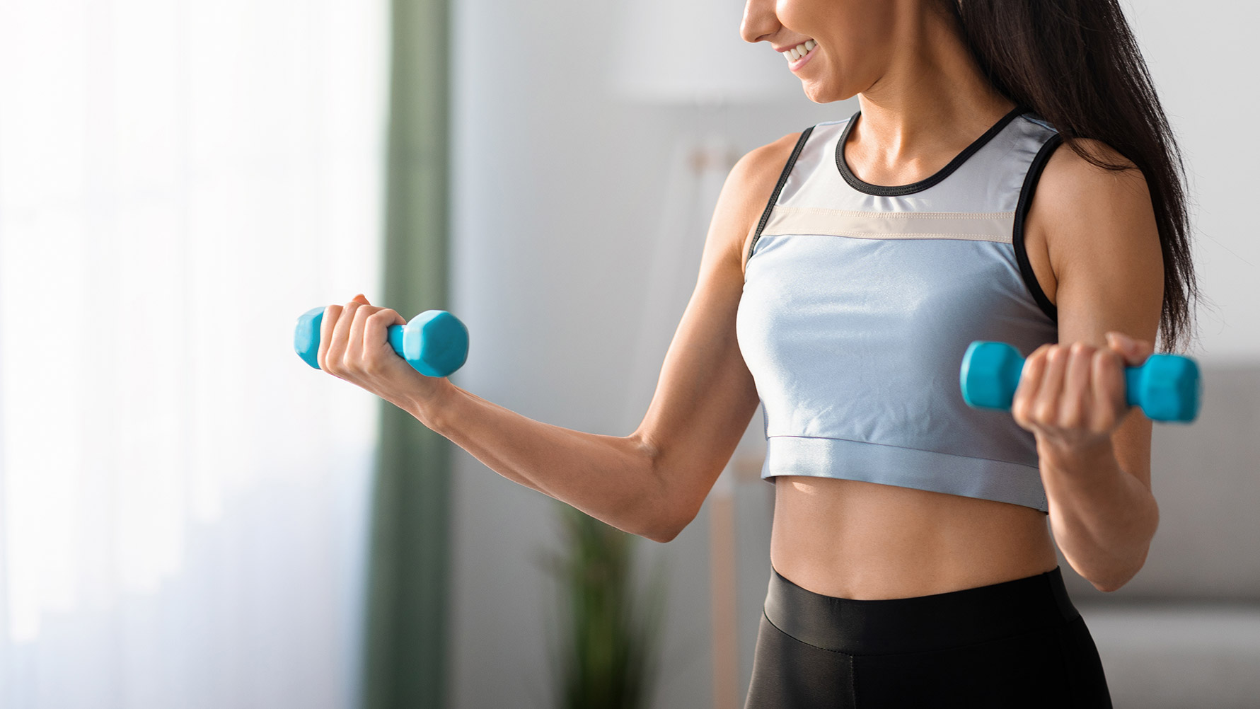 good morning exercise with dumbbell